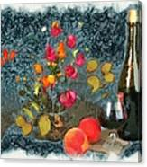 Kitchen - Peaches And Wine Painting  Canvas Print