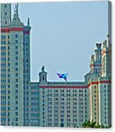 Kite Over Moscow University In Moscow-russia Canvas Print