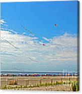 Kites Flying Over The Sand Canvas Print