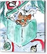 Kitten In A Shredded Present Canvas Print