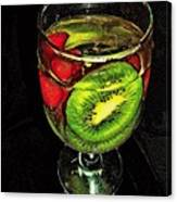 Kiwi And Grapes In  Wine Glass  Canvas Print
