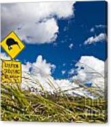 Kiwi Crossing Road Sign In Nz Canvas Print
