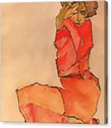 Kneeling Female In Orange-red Dress Canvas Print