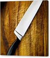 Knife On Chopping Board Canvas Print