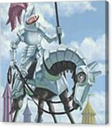Knight In Shining Armour On Horesback Canvas Print