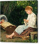 Knitting Girl Watching The Toddler In A Craddle Canvas Print