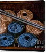 Knitting Yarn In A Wooden Box Canvas Print