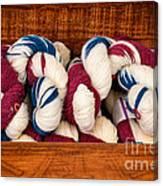 Knitting Yarn In Patriotic Colors Canvas Print