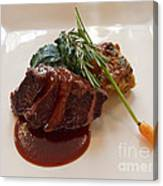 Kobe Beef With Spring Spinach And A Wild Mushroom Bread Pudding Canvas Print