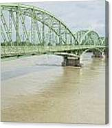 Komarom Bridge Over Flooding Danube River Canvas Print