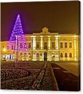 Koprivnica Night Street Christmas Scene Canvas Print