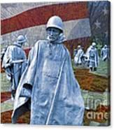 Korean War Veterans Memorial Bronze Sculpture American Flag Canvas Print