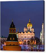 Kremlin Cathedrals At Night - Featured 3 Canvas Print