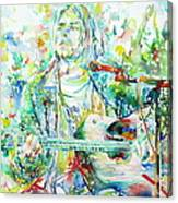 Kurt Cobain Playing The Guitar - Watercolor Portrait Canvas Print