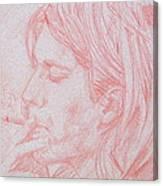Kurt Cobain Smoking-pencil Portrait Canvas Print