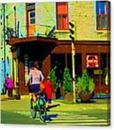 Kusmi Tea And Sandwich Shop St Viateur Corner St Urbain Montreal Summer City Scene  Carole Spandau Canvas Print