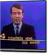 Kvoa Tv Anchorman Interviewer Writer Photographer Dick Mayers Screen Capture Collage Circa 1965-2011 Canvas Print