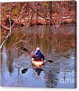 Kyaking On A Lake In Spring Canvas Print