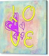 L O V E Disney Style Canvas Print