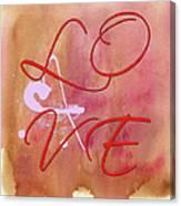 L O V E Script With Heart Canvas Print