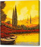 La Barca Al Tramonto Canvas Print