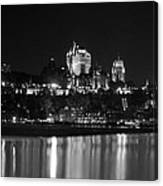 La Chateau Frontenac In Black And White Canvas Print