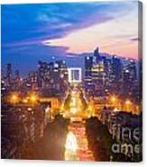 La Defense And Champs Elysees At Sunset In Paris France Canvas Print