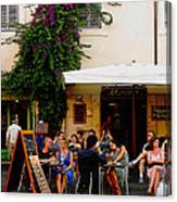 La Dolce Vita At A Cafe In Italy Canvas Print