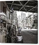 Laboring Under The Bridge  Canvas Print