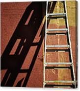 Ladder And Shadow On The Wall Canvas Print