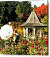 Ladies In Rose Garden Canvas Print