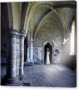Lady In Abbey Room With Doves Canvas Print