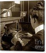 Lady In Early Kitchen Cooking Turkey Dinner 1900 Canvas Print