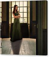 Lady In Green Gown By Window Canvas Print