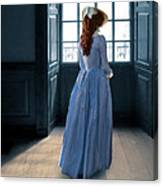 Lady In Purple Gown By Window Canvas Print