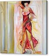 Lady In Red Canvas Print