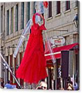 Lady In Red Watching Filming Of Today Show In Old Montreal-qc Canvas Print