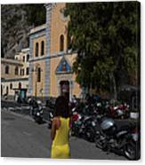 Lady In Yellow By The Church Of San Francesco Maiori Italy Canvas Print