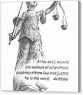 Lady Justice Statue Pencil Portrait Canvas Print
