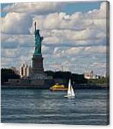 Lady Liberty With Sailboat And Water Taxi Canvas Print