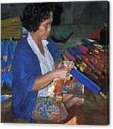 Lady Makes Umbrellas At A Factory Near Chaing Mai Canvas Print