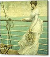 Lady On The Deck Of A Ship  Canvas Print
