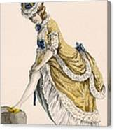 Lady Pulling Up Her Stocking, Engraved Canvas Print