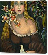 Lady With Dove Canvas Print