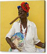 Lady With Fan And Cigar, Old Havana Canvas Print