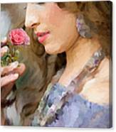 Lady With Pink Rose Canvas Print