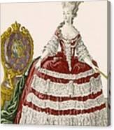 Ladys Court Gown In Dark Cherry Canvas Print