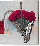 Purse Red Roses Jewelry Diamonds Canvas Print