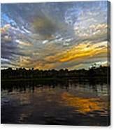 Lagoon Sunset In The Jungle Canvas Print