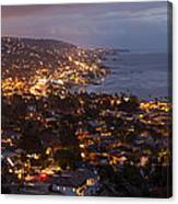 Laguna Beach City At Night Canvas Print